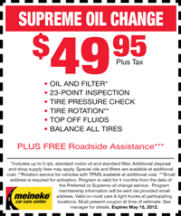 Coupon for Supreme Oil Change in Lincoln, NE : $39.95. Oil and filter, top-off fluids, lubricate chassis, balance check all tires, rotate tires, 23-point courtesy check