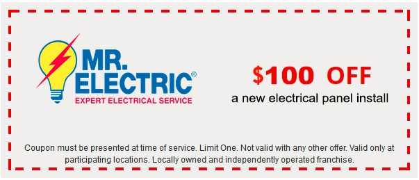 Mr. Electric coupon for $100 off a new electrical panel install, with Mr. Electric logo on the left side