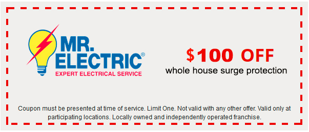 Mr. Electric coupon for $100 off whole house surge protection, with Mr. Electric logo on the left side