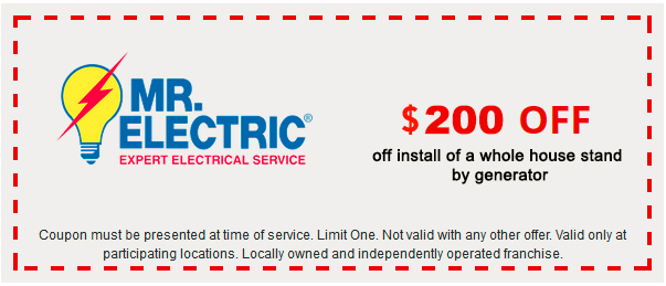 Mr. Electric coupon for $200 off install of a whole house stand by generator, with Mr. Electric logo on the left side