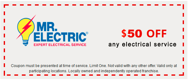 Mr. Electric coupon for $50 off any electrical service, with Mr. Electric log on the left side